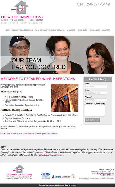 Detailed Inspections website launched by SilverServers in Kamloops