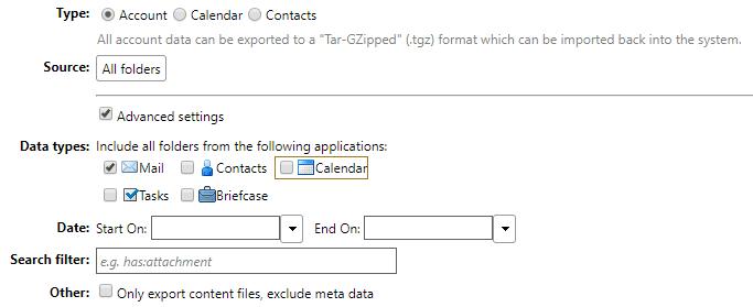 zimbra import export menu